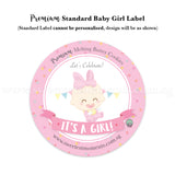 Premium Standard Cookie Label Baby Girl Pink