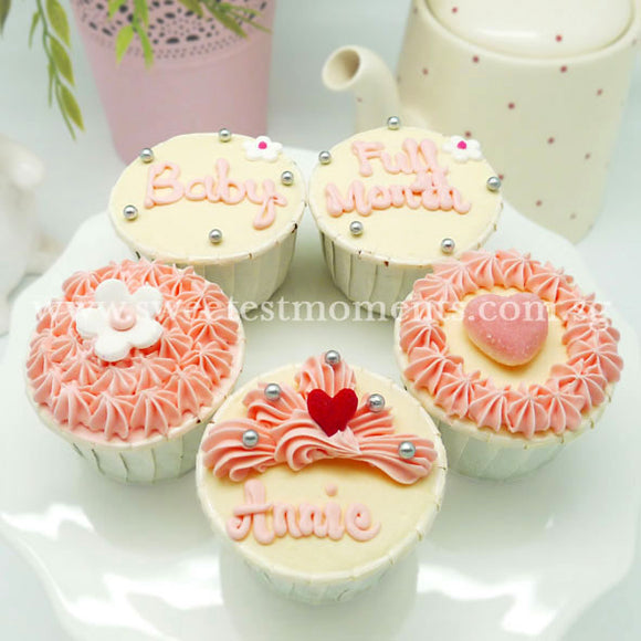 CF01 Small Wonders Sweetest Moments Full Month Standard Cupcake Buttercream Pink