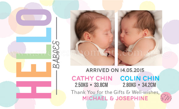Personalised BabyCards for Twins Sweetest Moments Hello Babies BabyCard