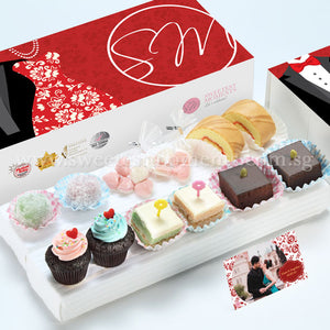 WE09 Lovely Classic Wedding Guo Da Li Package Sweetest Moments Swiss Rolls Heart-Candy Packs Mochi Brownies Pastel Cubes Mini Cupcakes Tux & Gown