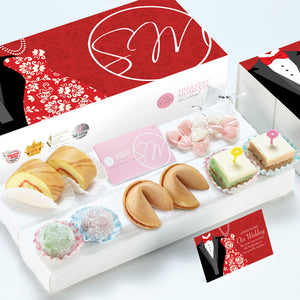 WE13 Favoured Classic Wedding Guo Da Li Package Heart-Candy Packs Swiss Rolls Pastel Cubes 旺旺 Cookies Mochi Tux & Gown