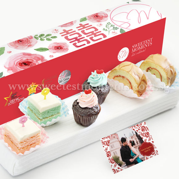 WL02 Lovey Bites Wedding Guo Da Li Package Sweetest Moments Swiss Rolls Pastel Cubes Mini Cupcakes