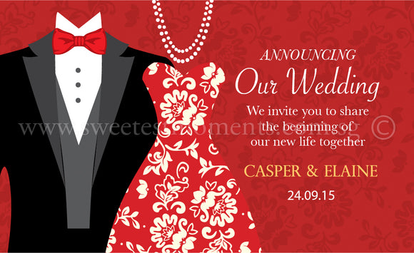 Personalised Wedding Cards Sweetest Moments Tux & Gown Classic Blissful Series