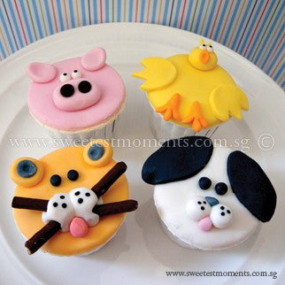CK05 Animal Theme Sweetest Moments Birthday Standard Cupcake Fondant