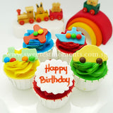 CK08 Little Engines Sweetest Moments Birthday Standard Cupcake Buttercream Fondant