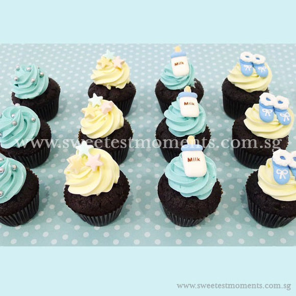 CM06 Mini Baby Blue Sweetest Moments Full Month Mini Cupcake Buttercream Fondant