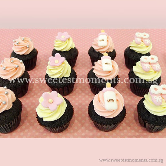 CM07 Mini Baby Pink Sweetest Moments Full Month Mini Cupcake Buttercream Fondant
