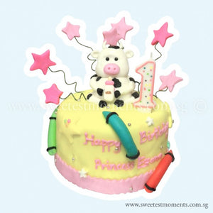 CKR20 Colouring Crayons Sweetest Moments Birthday Cake Buttercream Fondant