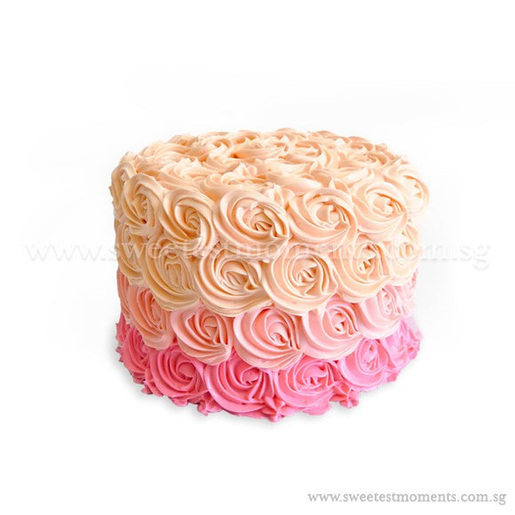 CRR04 Ombre Rosette Cake Sweetest Moments Birthday Cake Buttercream