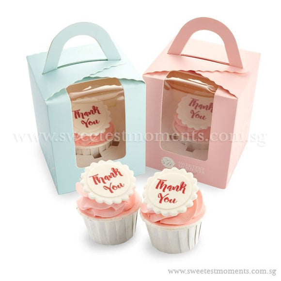 CTI01 Say It With Cupcakes Sweetest Moments Corporate Standard Cupcake Buttercream Fondant Edible Image Thank You Message Door Gifts Individually-Packed