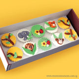 CL02 Jungle Buddies Sweetest Moments Birthday Full Month Standard Cupcake Fondant Box of 10