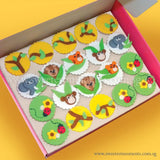 CL02 Jungle Buddies Sweetest Moments Birthday Full Month Standard Cupcake Fondant Box of 20
