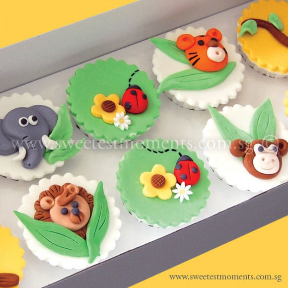 CL02 Jungle Buddies Sweetest Moments Birthday Full Month Standard Cupcake Fondant