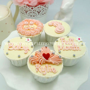 CF02 Little Feet Sweetest Moments Full Month Standard Cupcake Buttercream Blue