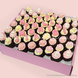 CM07 Mini Baby Pink Sweetest Moments Full Month Mini Cupcake Buttercream Fondant Box of 54