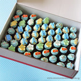 CM04 Mini Boy Sweetest Moments Full Month Mini Cupcake Buttercream Fondant Box of 54
