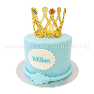 CKR26 Royal Prince sweetest moments standard cake 6 inch moist chocolate red velvet fondant