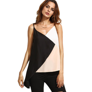 Colorblock Sexy V Neck Camisole