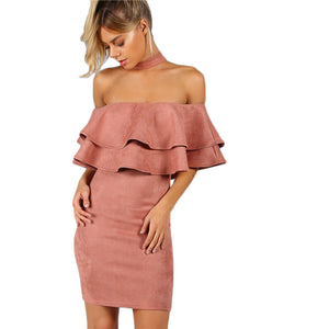 Pink Suede Layered Party Dress
