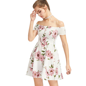 White Floral Off Shoulder Ruched Party Dress