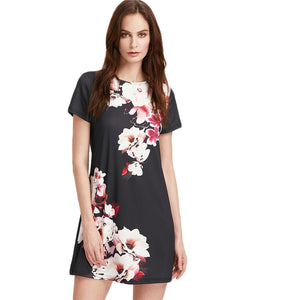 Floral Print Round Neck Short Sleeve Straight Dress