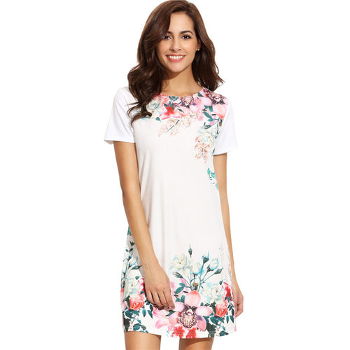 White Floral Sheath Dress