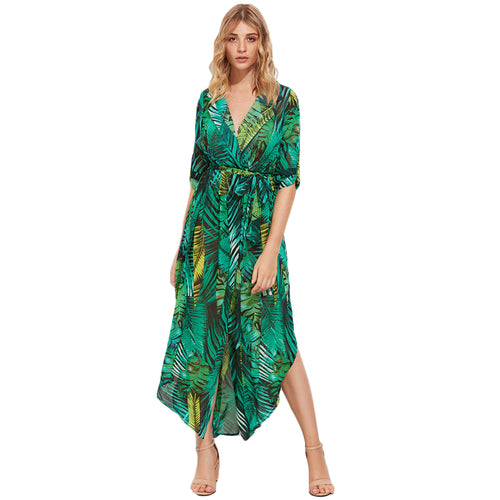 Green Palm Leaf Maxi Dress