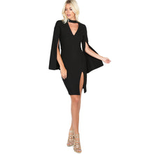 Black Choker Neck Split Sexy Dress