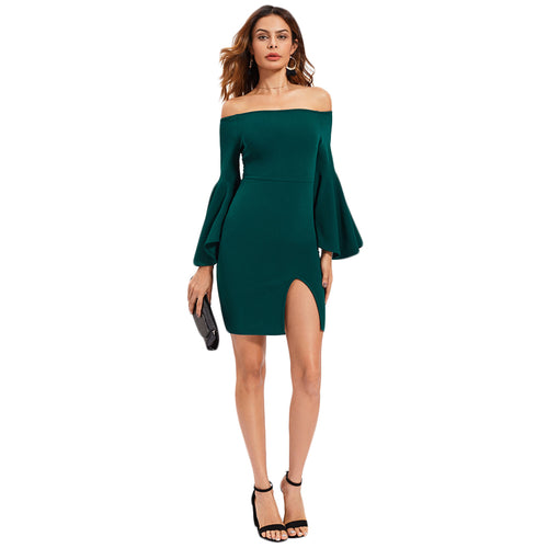 Green Off The Shoulder Exaggerate Flare Sleeve Dress