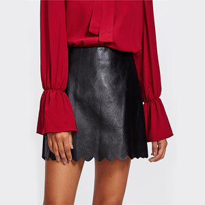 Scallop Hem Faux Leather Skirt