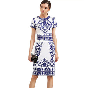 A blue print vintage styled dress for the summer
