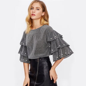 Pearl Beading Tiered Flare Sleeve Glitter Blouse