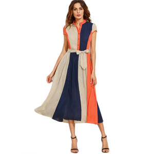 A patchwork style with bow tie at waist with buttons midi dress