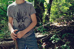 Children's Deer Print Grey T-shirt