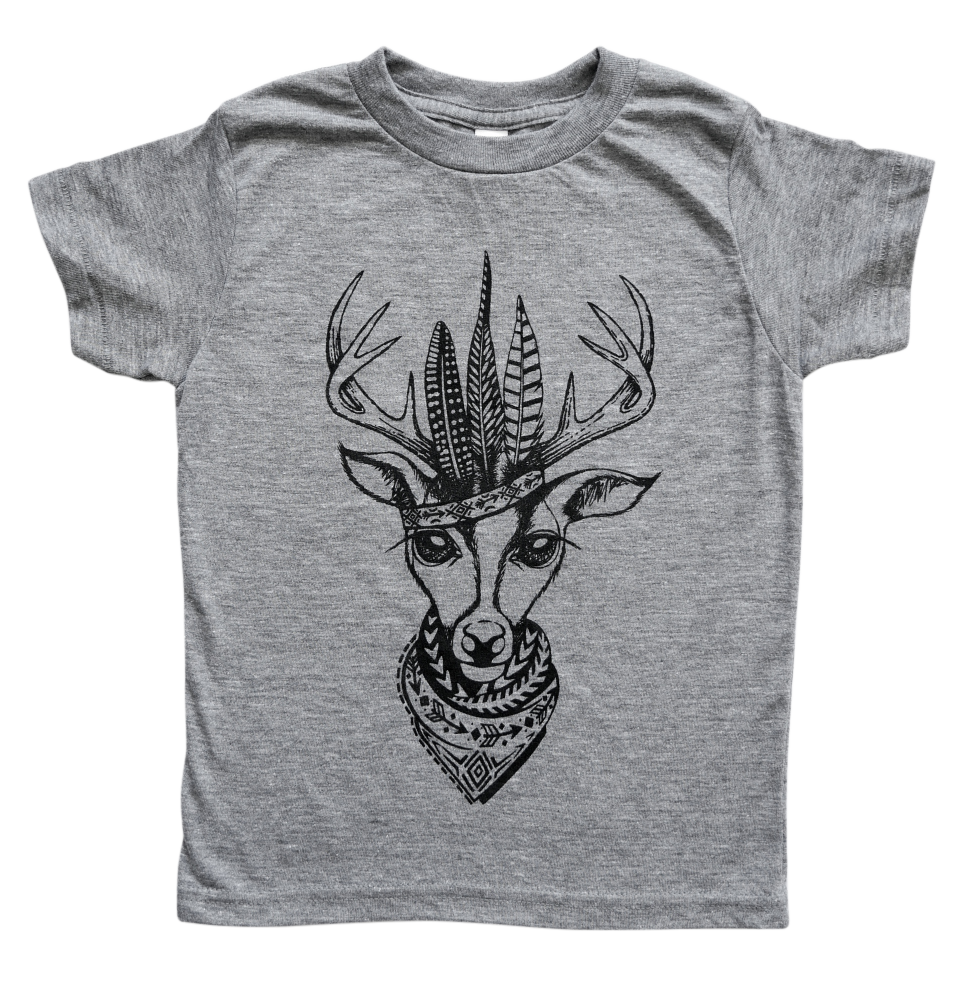 The Kingston Deer Tee in Tri-Blend Grey