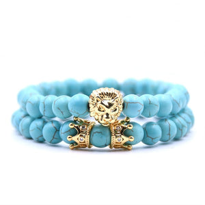 Lion Head & Crown Stone Bracelet Set - Kings Of Everything