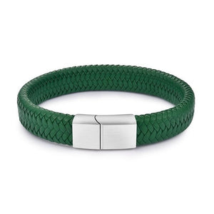 Braided Leather Stainless Steel Magnetic Clasp Bracelet - Kings Of Everything