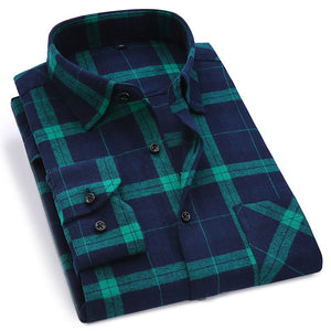 Cotton Slim Fit Flannel Plaid Shirt - Kings Of Everything