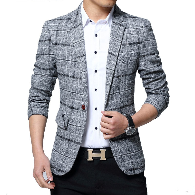 Plaid Casual Blazer