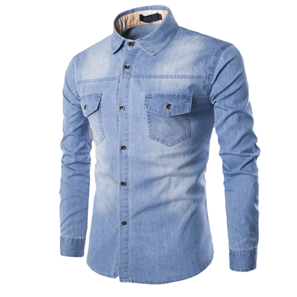 Slim Fit Washed Denim Long Sleeve Shirt - Kings Of Everything