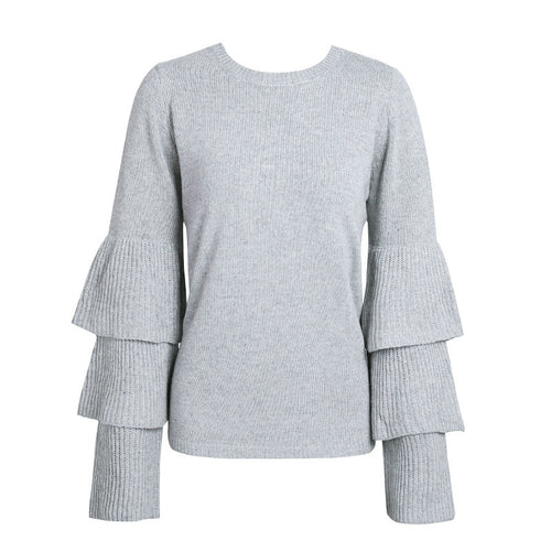 Loose flare sleeve pullover sweater