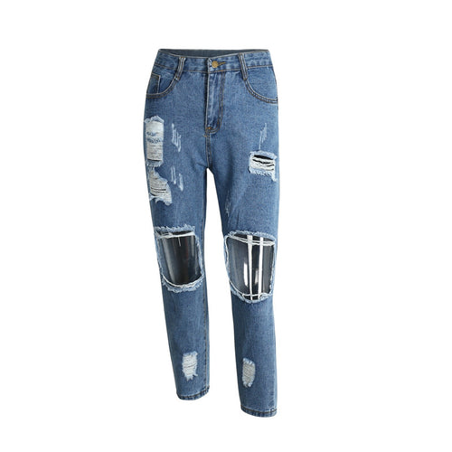 Hollow out blue denim capris