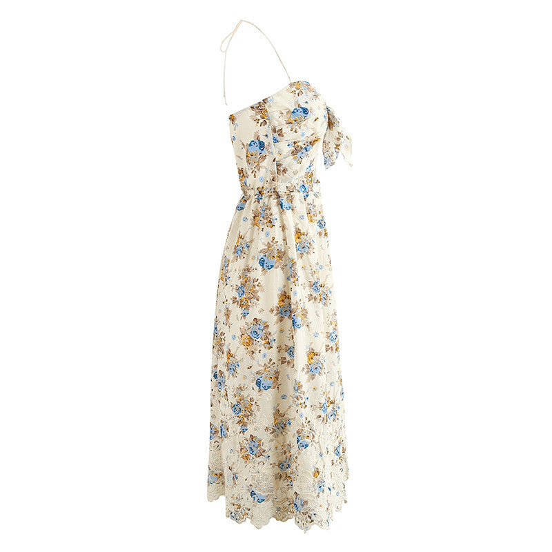 Elegant backless flower dress