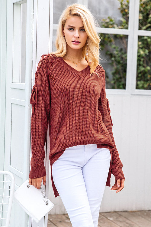 knitted long pullover sweater
