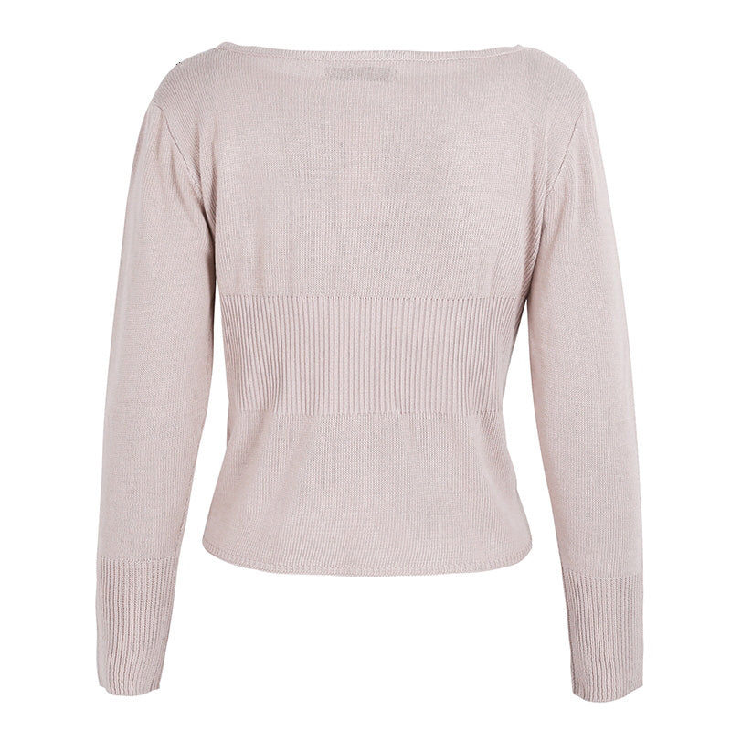 Waistband knitted pullover sweater