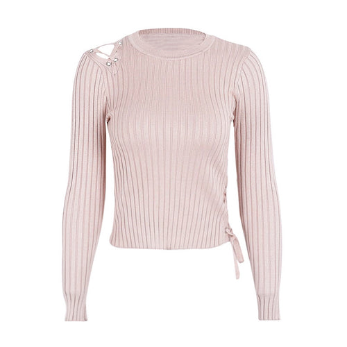shoulder lace up knitting pullover sweater