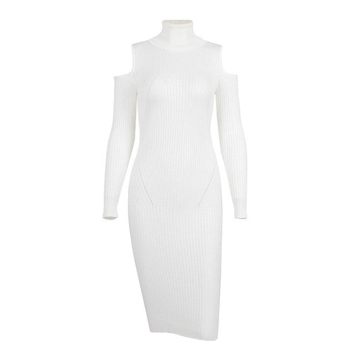 Cold shoulder turtleneck knitted dress