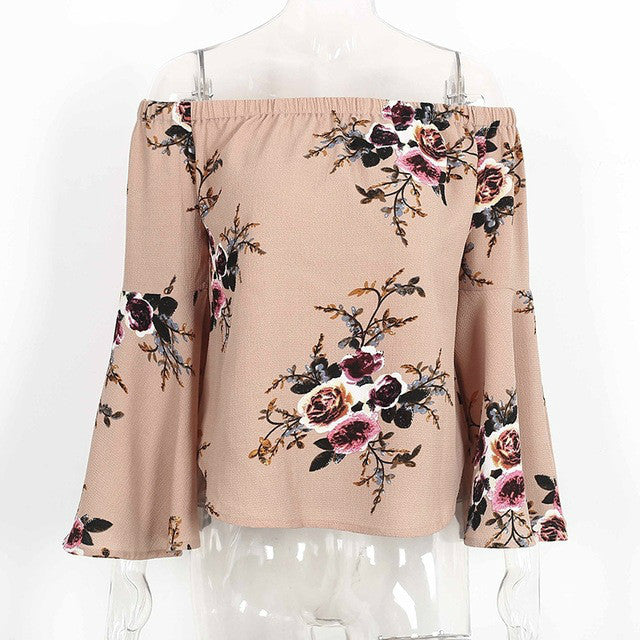Off shoulder chiffon shirt