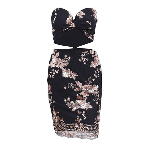 Sleeveless sequined two piece dress