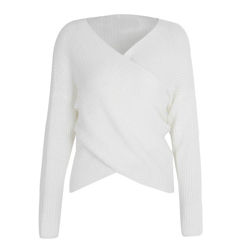 V neck cross knitting pullover sweater
